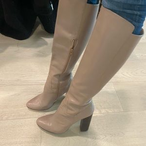Saks Fifth Avenue Taupe / Beige Knee High Boot